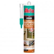 Akfix  AS606 Акриловый герметик силиконизированный, 600 мл
